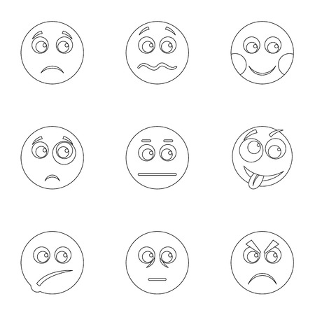 Appearance icons set. Outline set of 9 appearance icons for web isolated on white background