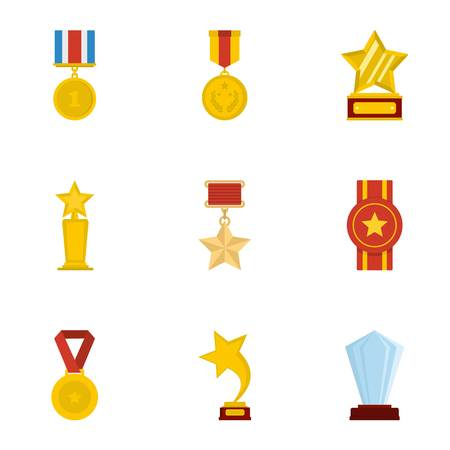 Accolade icons set. Cartoon set of 9 accolade icons for web isolated on white background