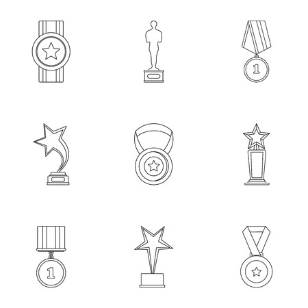 Recompense icons set, outline style