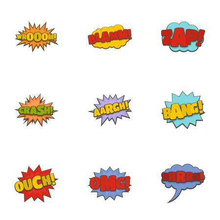 Cinema banner icons set. Cartoon set of 9 cinema banner icons for web isolated on white background