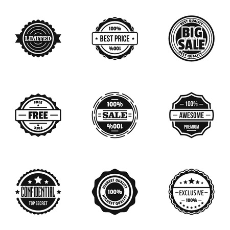 Sale label icons set, simple style