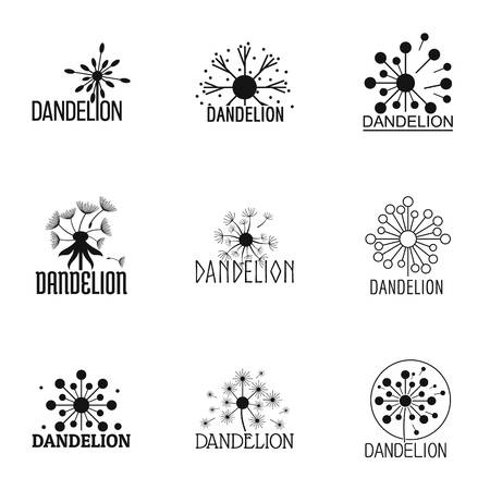 Conjunto de iconos de diente de León, estilo simple