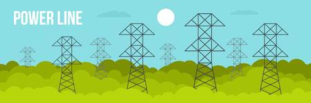 Power line banner, flat style Stock Photo