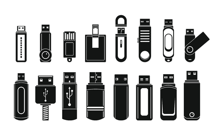 USB flash drive icons set, simple style