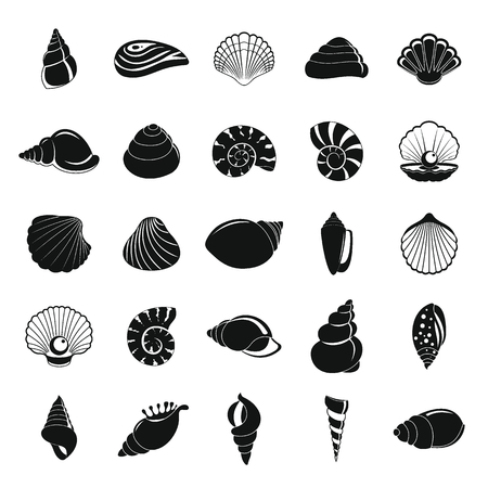 Sea shell icons set, simple style