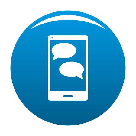 Mobile chat icon blue Stock Photo