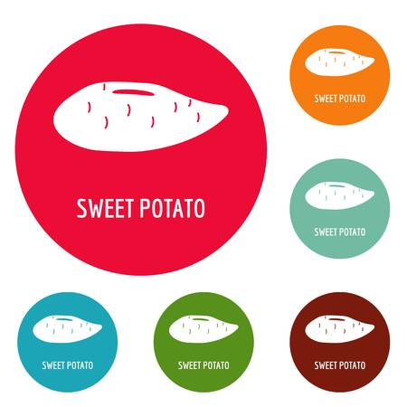 Sweet potato icons circle set