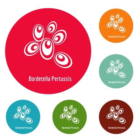 Bordetella pertussis icons circle set