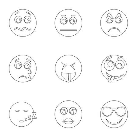 Visage icons set. Outline set of 9 visage icons for web isolated on white background Stock Photo