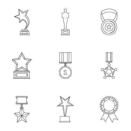 Retribution icons set. Outline set of 9 retribution icons for web isolated on white background Stock Photo