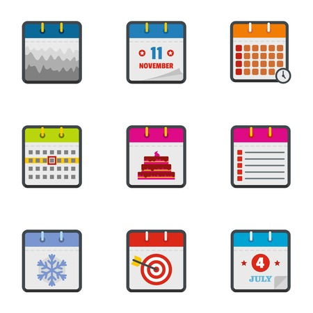 Almanac icons set. flat set of 9 almanac icons for web isolated on white background