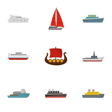 Rescue boat icons set. flat set of 9 rescue boat icons for web isolated on white background