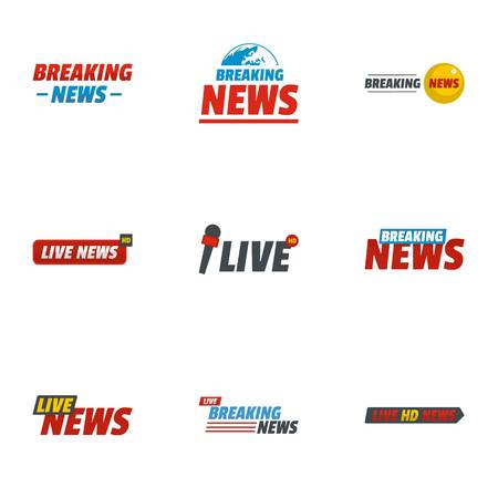 News report icons set. flat set of 9 news report icons for web isolated on white background