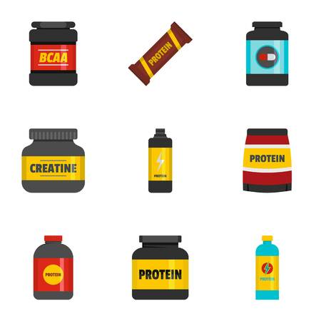 Sport food icons set. flat set of 9 sport food icons for web isolated on white background
