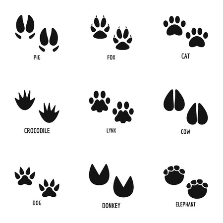 Animal paw icons set. Simple set of 9 animal paw icons for web isolated on white background Stock Photo