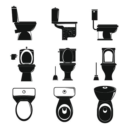 Toilet bowl icons set. Simple illustration of 9 toilet bowl icons for web Stock Illustration - 105907661