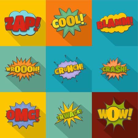 Impact icons set. flat set of 9 impact icons for web isolated on white background