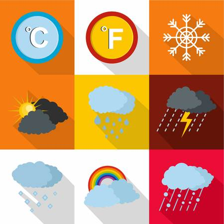 Weather intervention icons set. flat set of 9 weather intervention icons for web isolated on white background