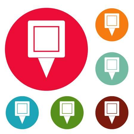 Square pin icons circle set Фото со стока