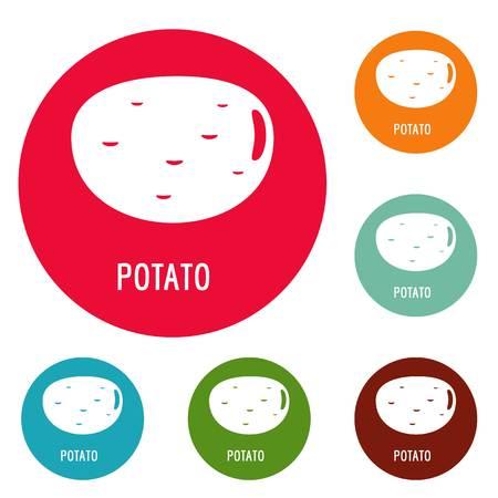 Potato icons circle set Stock Photo