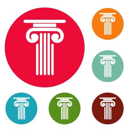 Outer column icons circle set
