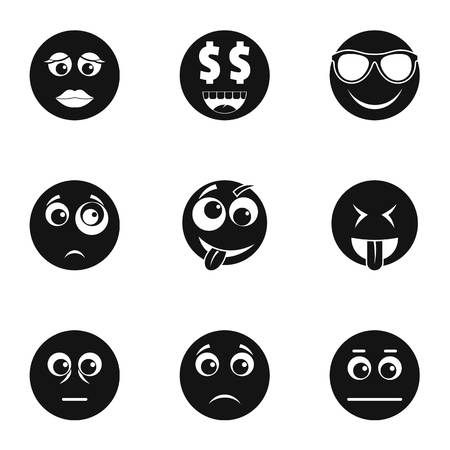 Physiognomy icons set. Simple set of 9 physiognomy icons for web isolated on white background Stock Photo