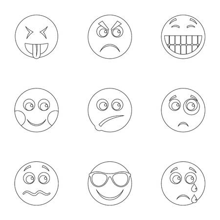 Front side icons set. Outline set of 9 front side icons for web isolated on white background