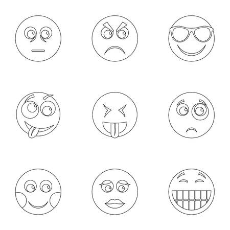 Facial animation icons set. Outline set of 9 facial animation icons for web isolated on white background