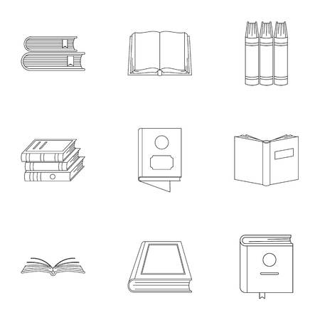 Reference book icons set. Outline set of 9 reference book icons for web isolated on white background