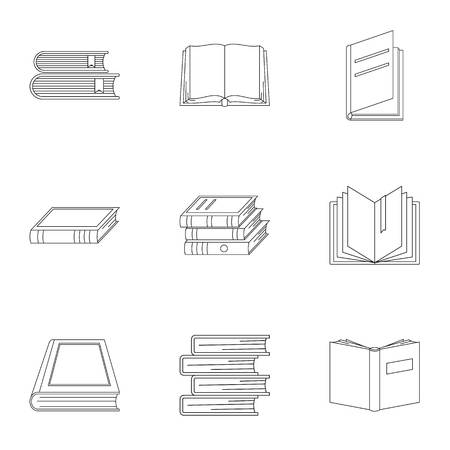 Reference publication icons set. Outline set of 9 reference publication icons for web isolated on white background
