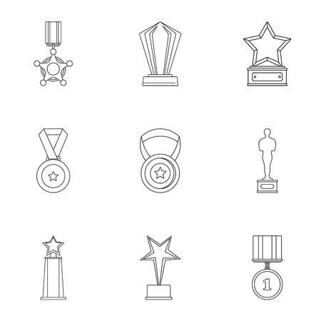 Accomplishment icons set. Outline set of 9 accomplishment icons for web isolated on white background