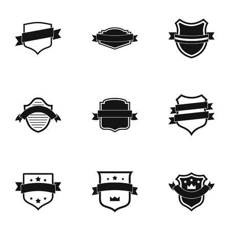 Banderole icons set. Simple set of 9 banderole icons for web isolated on white background