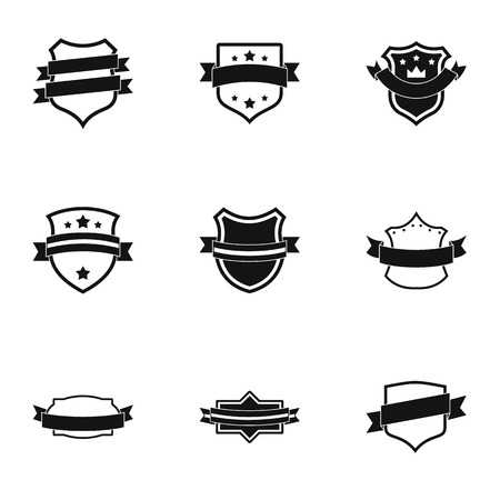 Streamer icons set. Simple set of 9 streamer icons for web isolated on white background