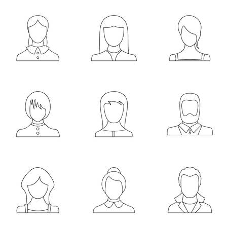 Phiz icons set. Outline set of 9 phiz icons for web isolated on white background