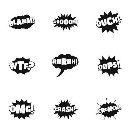 Decal icons set. Simple set of 9 decal icons for web isolated on white background