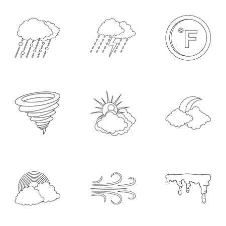 Weatherboard icons set. Outline set of 9 weatherboard icons for web isolated on white background