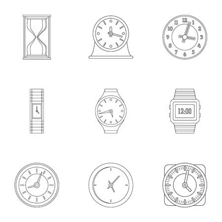 Timekeeper icons set. Outline set of 9 timekeeper icons for web isolated on white background Фото со стока