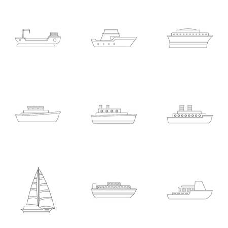 Speedboat icons set. Outline set of 9 speedboat icons for web isolated on white background