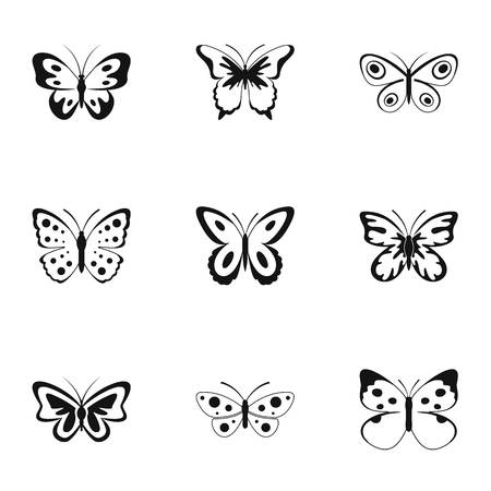 Beautiful butterfly icons set. Simple set of 9 beautiful butterfly icons for web isolated on white background