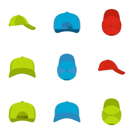 Protective helmet icons set. flat set of 9 protective helmet icons for web isolated on white background Stock Photo