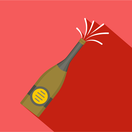 Bottle of champagne icon. Flat illustration of bottle of champagne icon for web