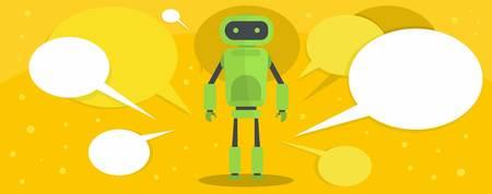 Robot banner, flat style