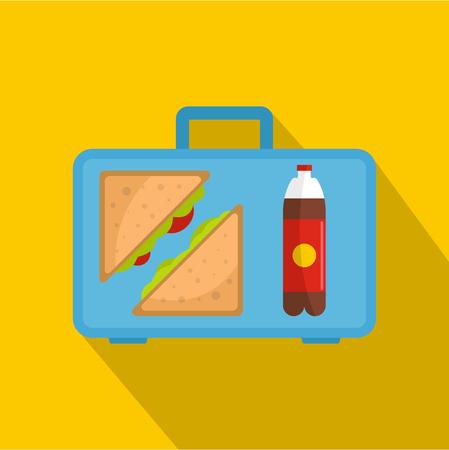 Office breakfast icon, flat style Stock Photo