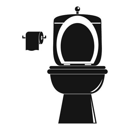 Ceramic toilet icon, simple style