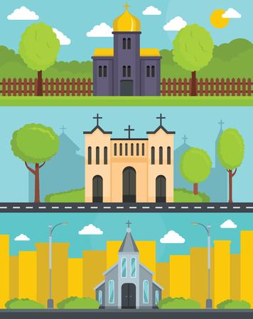 Church building banner concept set, flat style