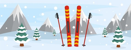 Skiing banner, flat style
