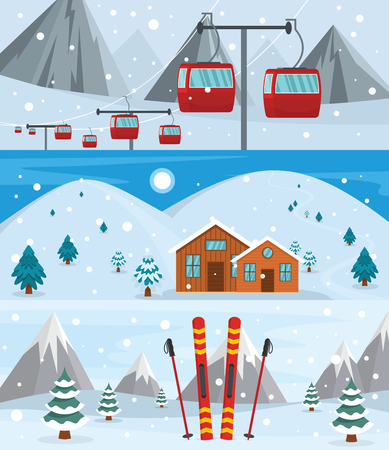 Resort hotel winter banner concept set, flat style