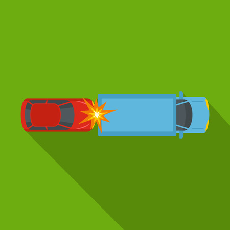 Car injury icon, flat style Stock Photo
