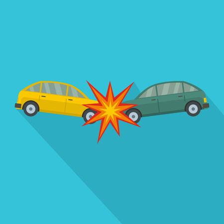 Head collision icon, flat style