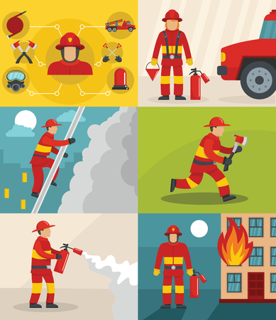 Fire fighter banner concept set, flat style